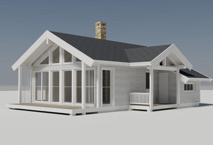 Illustrasjon av Buen Småroi panorama. En meget arealeffektiv hytte som praktisk talt har de samme funksjoner som langt større hytter, men til en liten pris