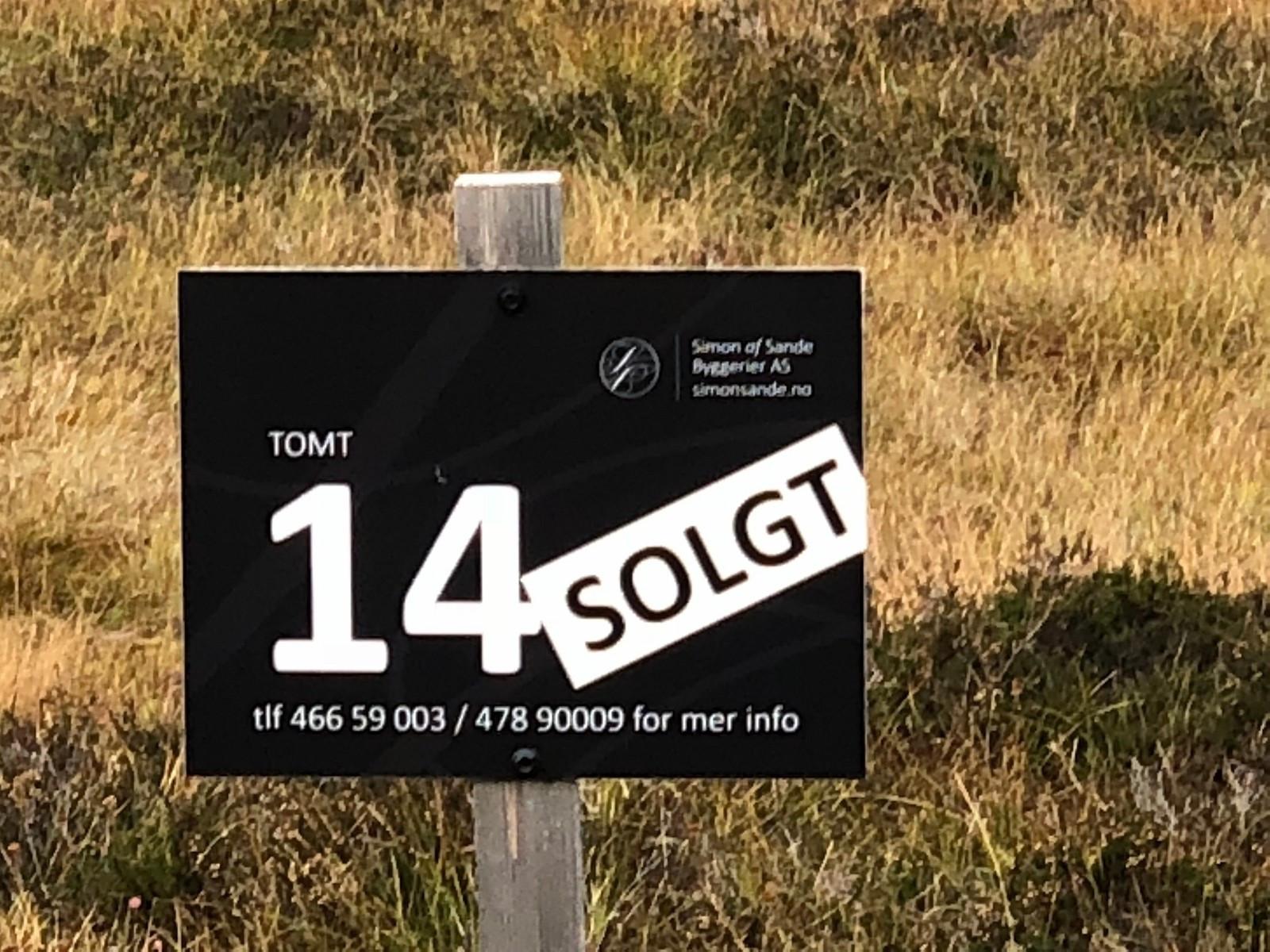 Mange tomter er nå solgt, bl.a. tomt nr. 14
