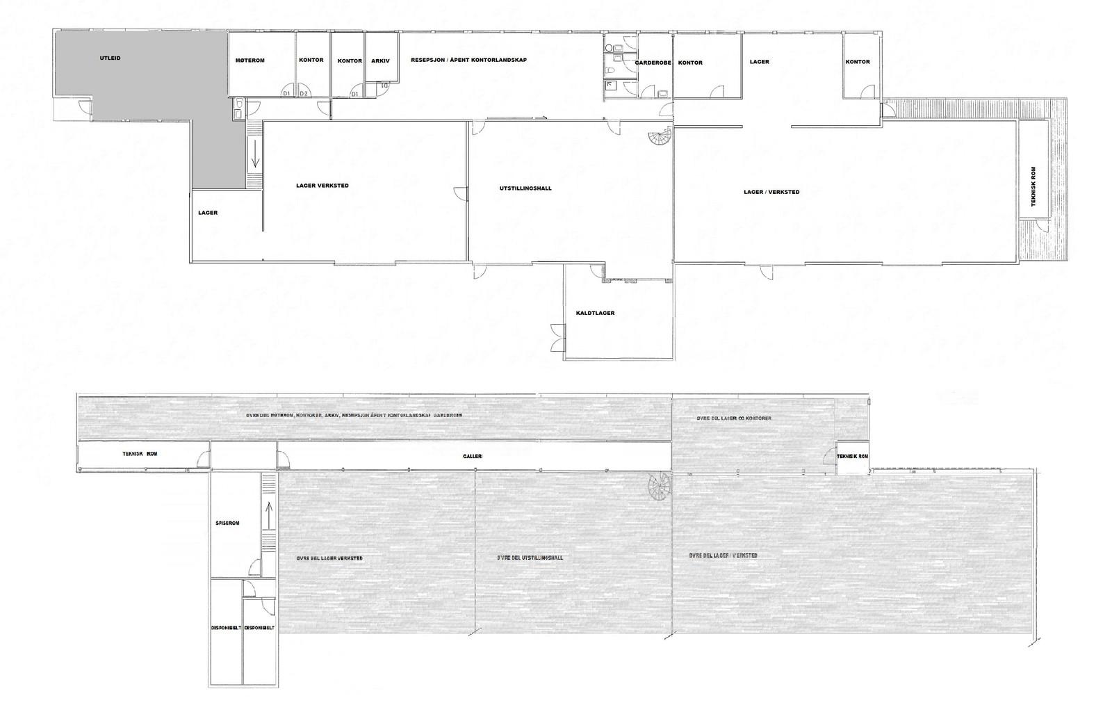 Planskisse hovedplan og galleri