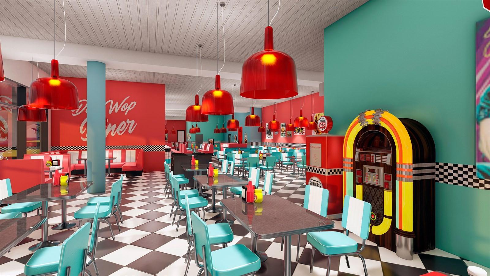 Servering- og bevertningslokale. Her illustrert som American Diner.