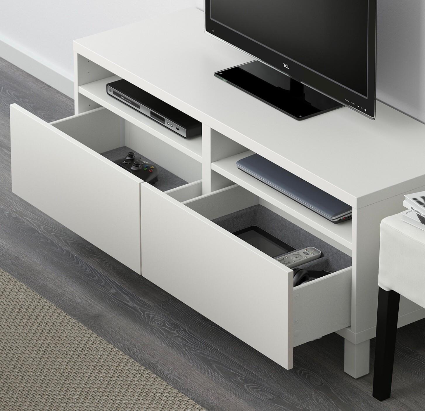 BESTÅ TV benk med skuffer hvitLappvikenStallarp hvit