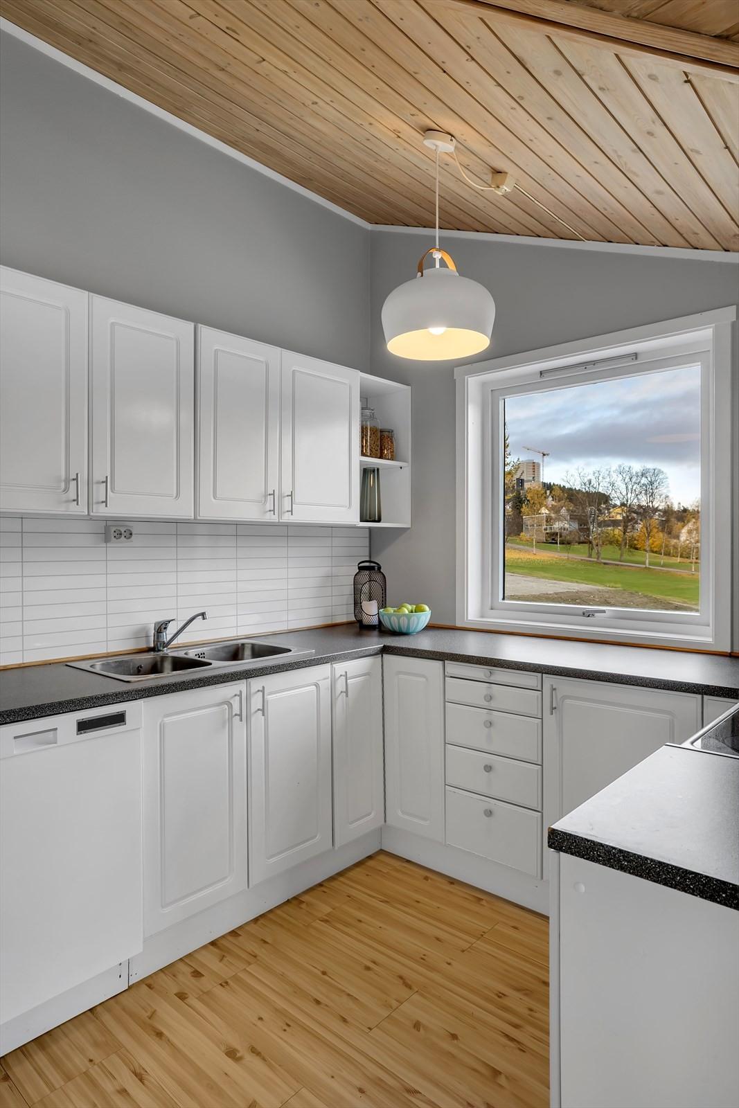 Utsikt fra kjøkkenet mot store ubebygde arealer