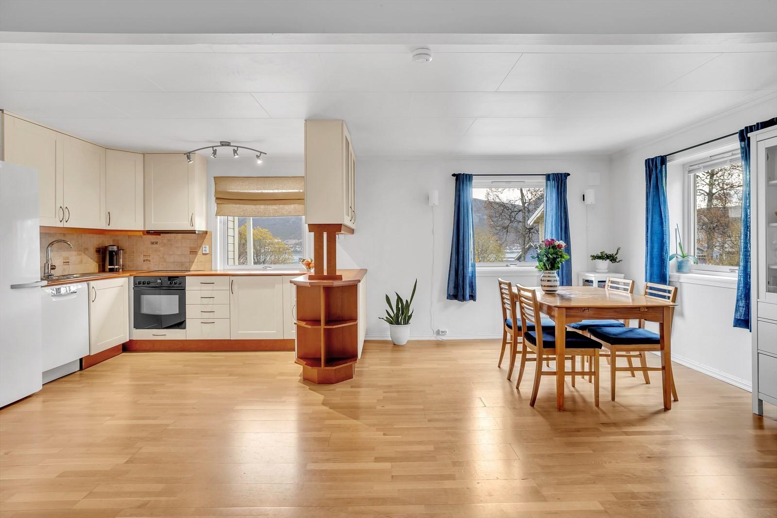 Stue og kjøkken åpen løsning