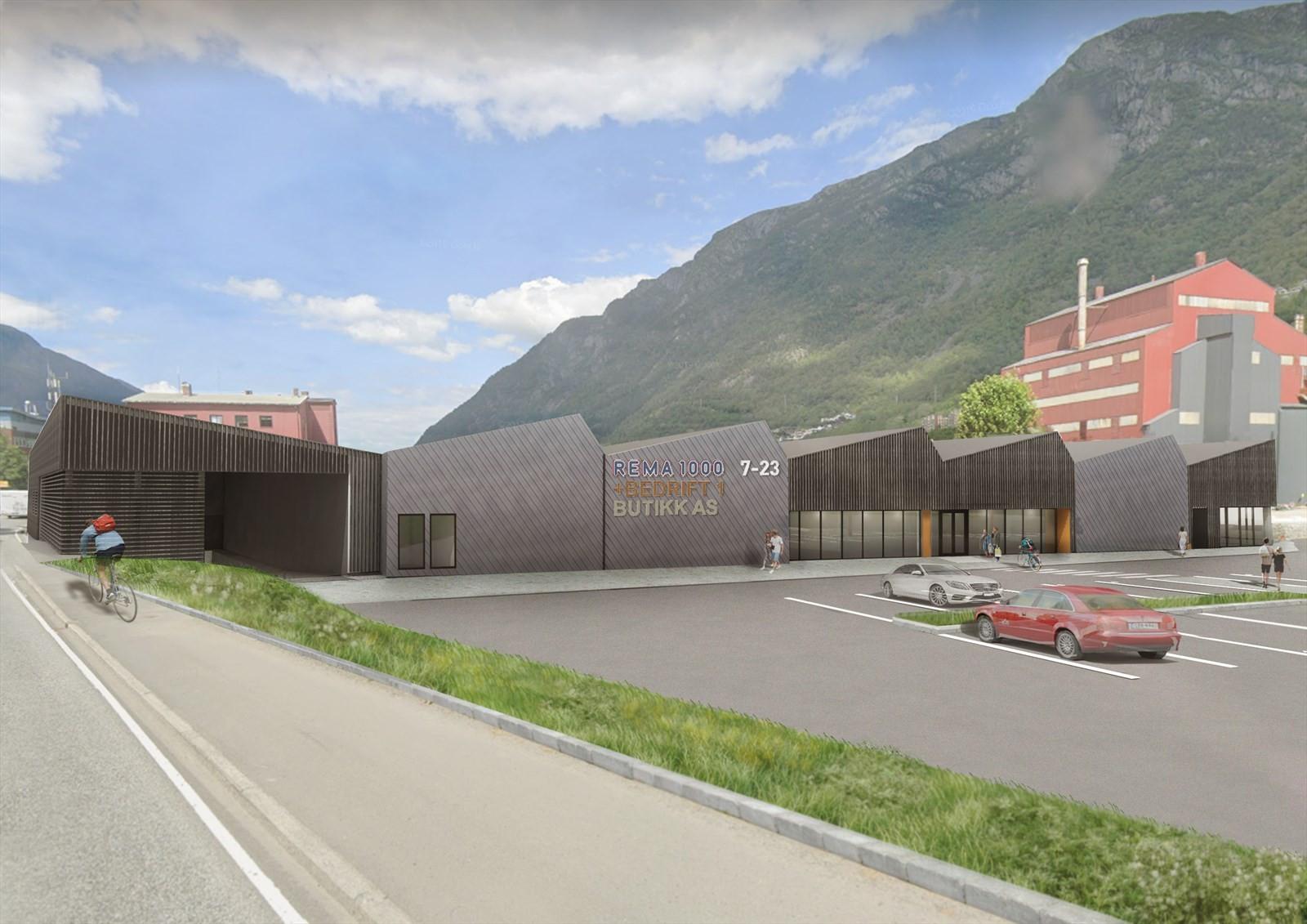 Nye handelslokaler på Smelteverkstomten i Odda.