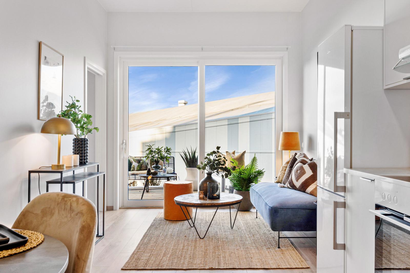 Stue/kjøkken med utgang til terrasse