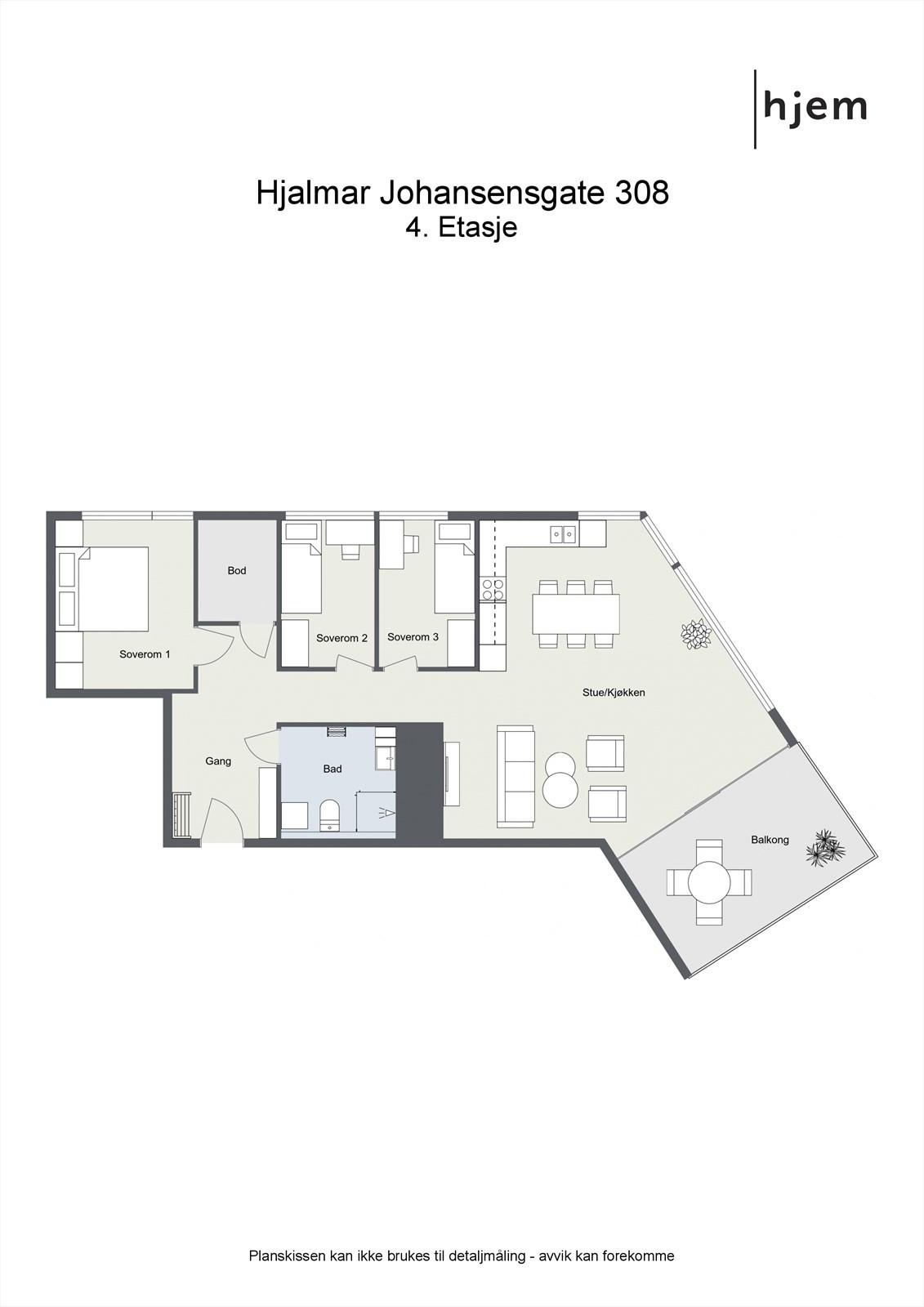 2D planillustrasjon av leiligheten.