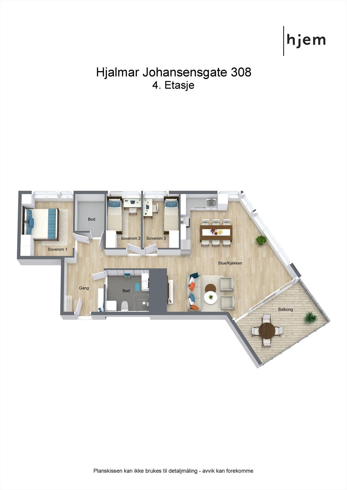 3D planillustrasjon av leiligheten.