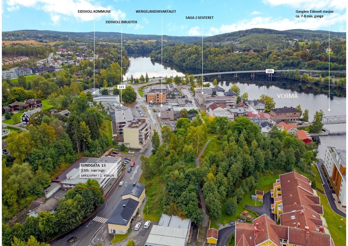 3 stk. næringsseksjoner i Eidsvoll sentrum