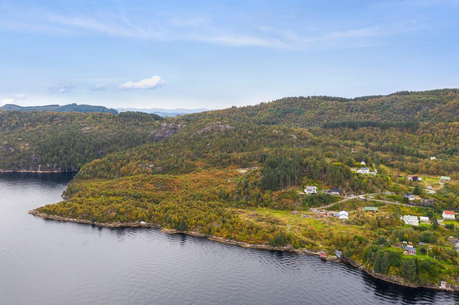 Luftfoto innover mot Nappane og hyttefeltet