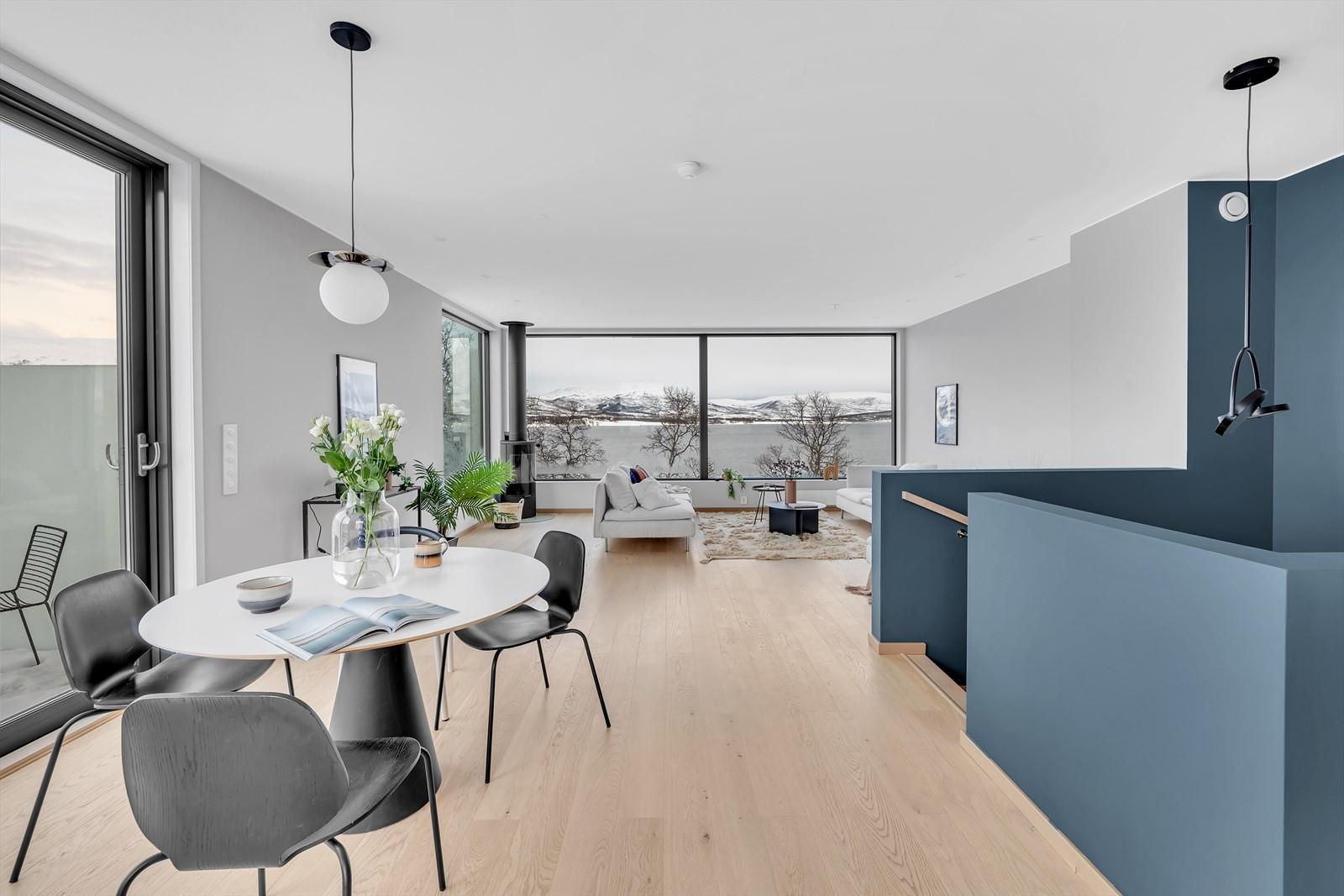 Bilde fra kjøkkenet mot stuen. Dør til terrassen til venstre i bildet.