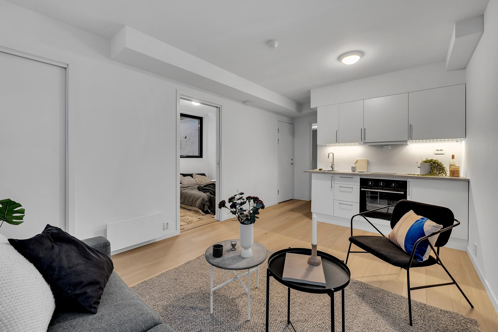 Stue med kjøkken i kjelleren - 3-roms leilighet kan leies ut eller brukes sammen med resten av huset.