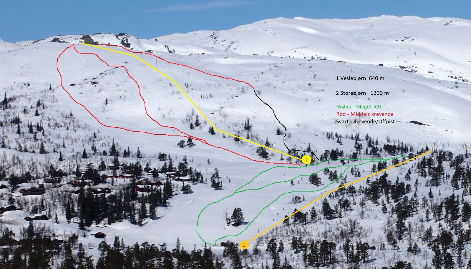 Hytta ligger nær alpinbakkene.