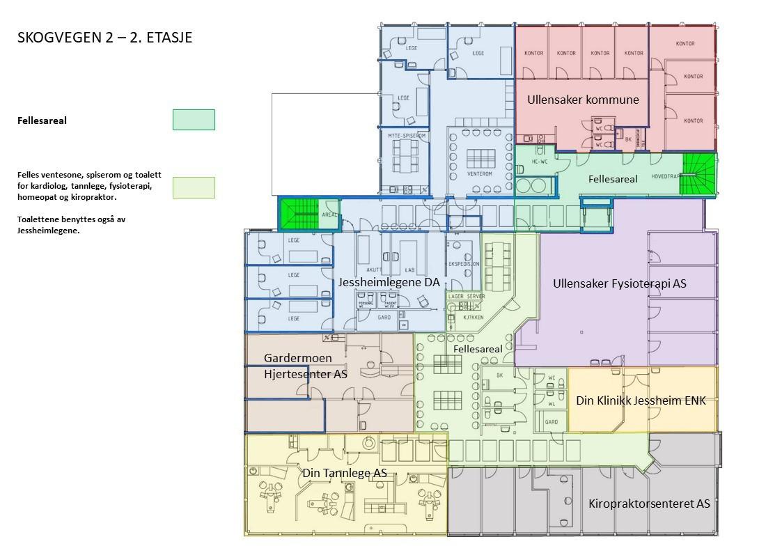 Planskisse med leietakere - 2. etasje (mindre avvik kan forekomme)