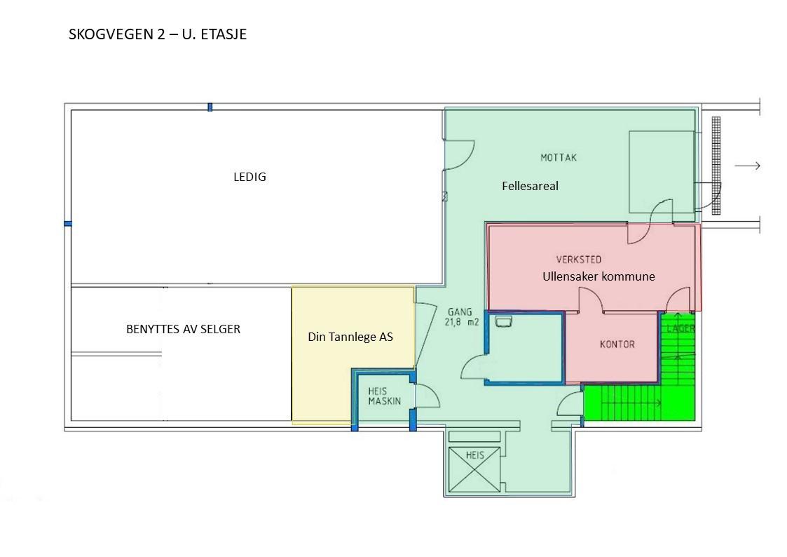 Planskisse med leietakere - u. etasje (mindre avvik kan forekomme)