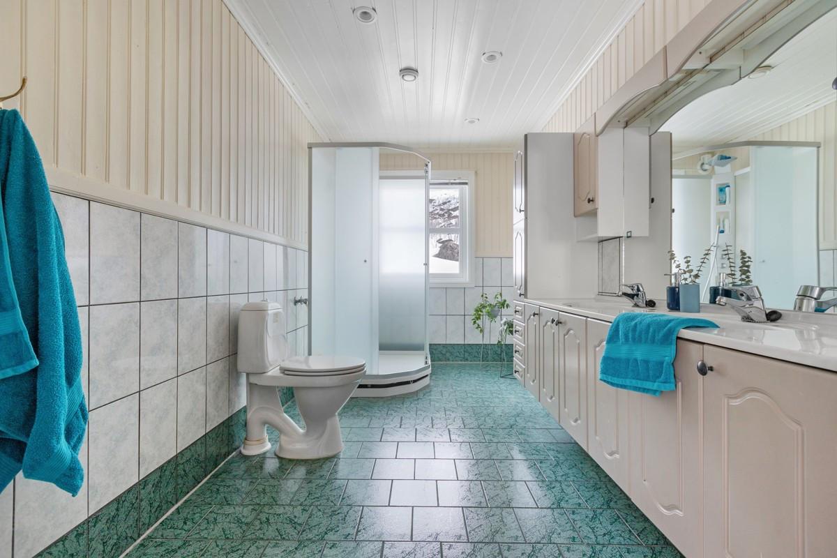 Baderom med dusjkabinett, toalett og stor baderomsinnredning