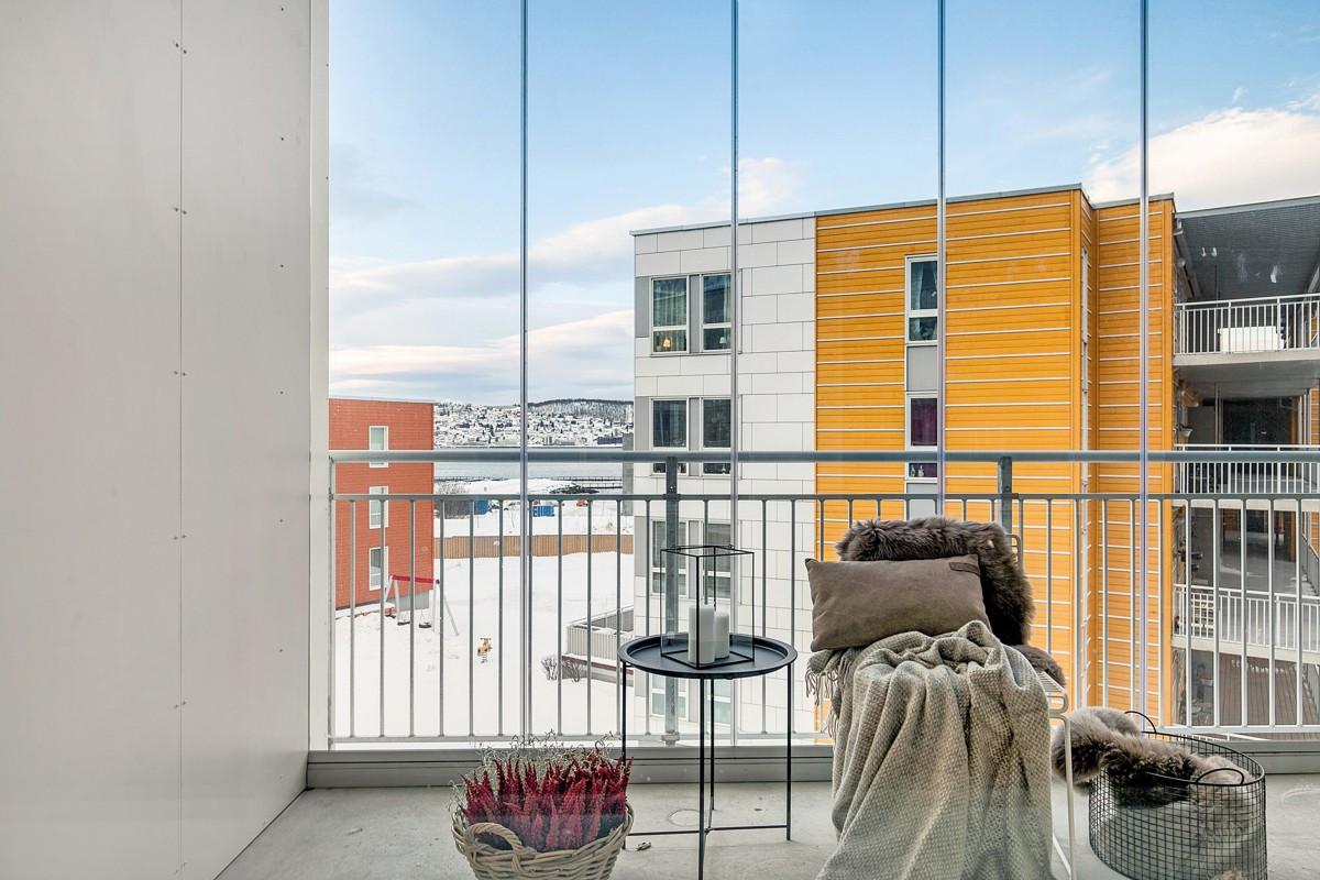 Praktisk innglasset balkong