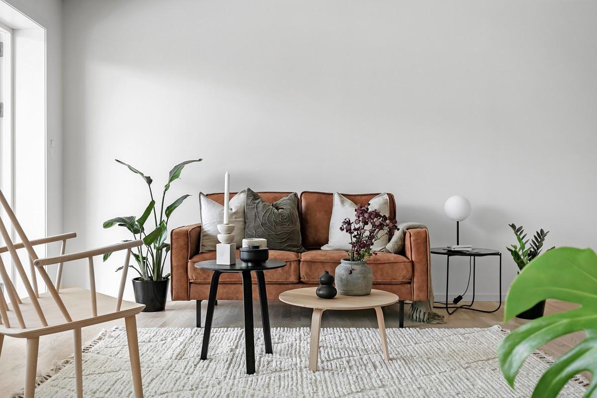 Arealeffektiv stue med gode møbleringsmuligheter