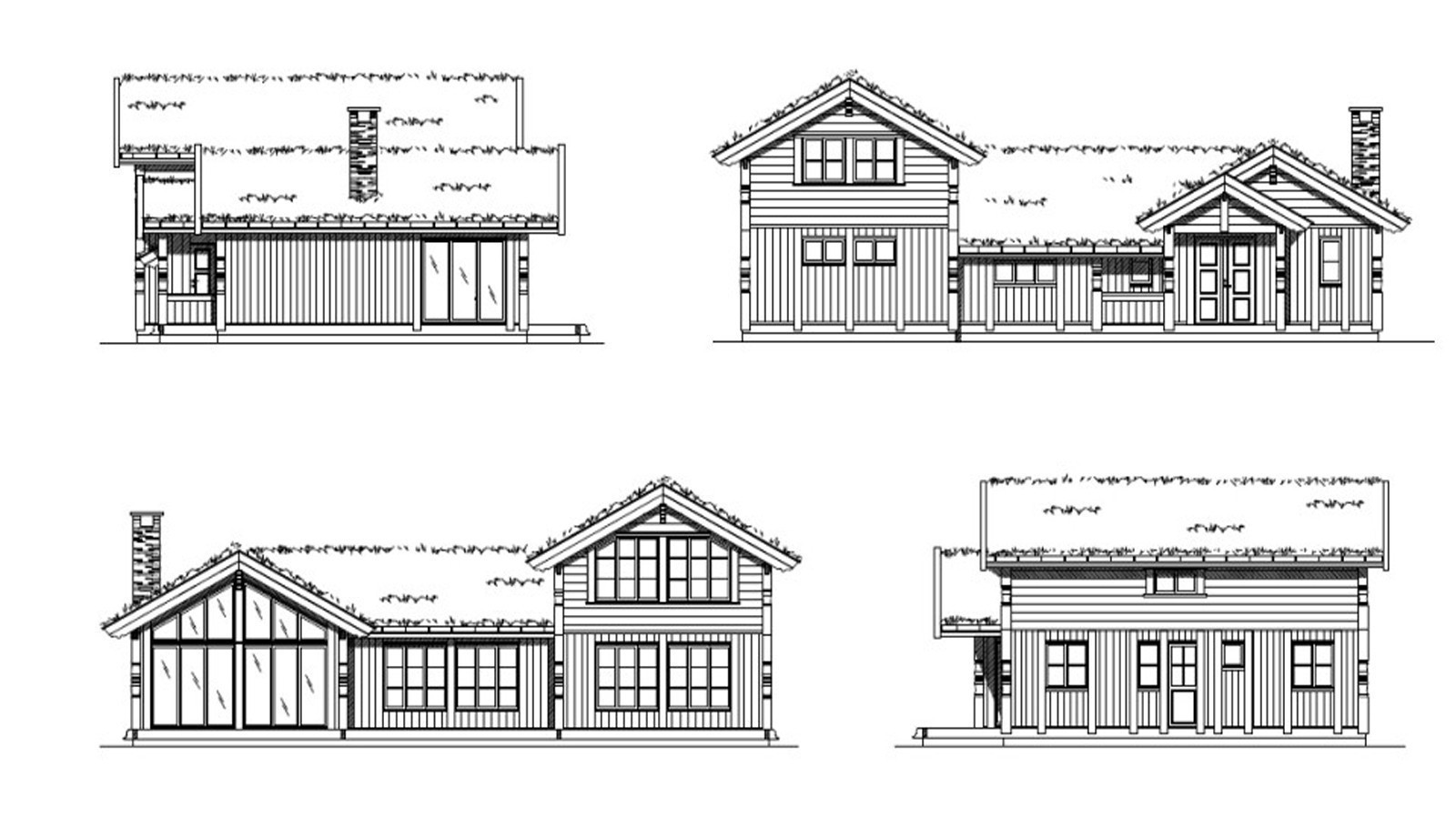 Fasader for hytte modell Kløvfjell  - Vi har egne arkitekter som tilpasser hytten helt til slik dere ønsker og behov er.