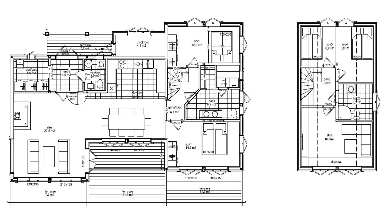 Plan tegninger for hytte modell Kløvfjell  - Vi har egne arkitekter som tilpasser hytten helt til slik dere ønsker og behov er. Spør oss gjerne om ulike kundetilpassende tegninger.