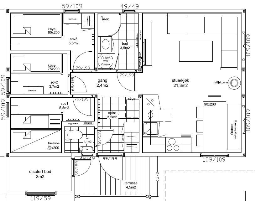 Fasadetegning av Småroi L. Hytta kan enkelt utvides om ønskelig. Meget funksjonell hytte med god plassutnyttelse