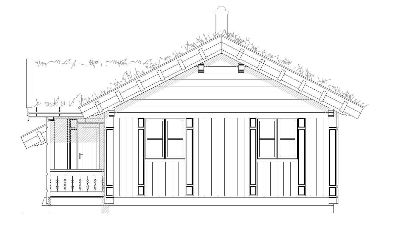 Fasadetegning av Småroi L. Hytta kan enkelt utvides om ønskelig