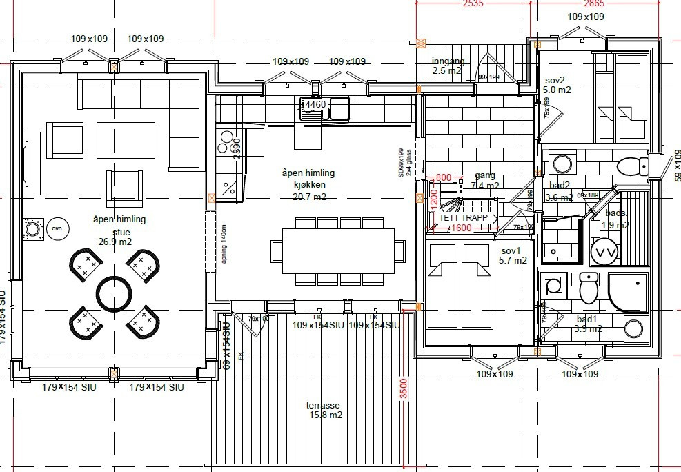 Samme hytte med annen planløsning med 2 bad kan også leveres.