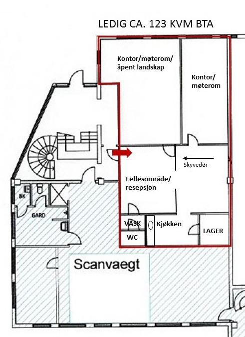 Planskisse kontor 2. etasje ca. 123 kvm