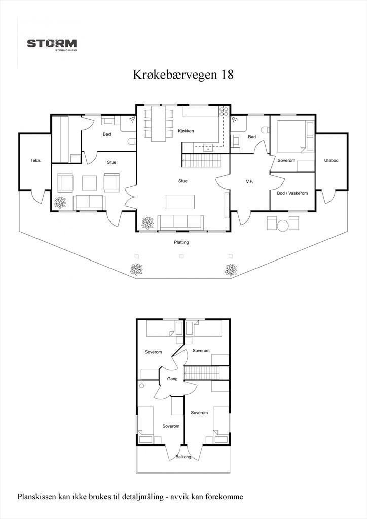 2D planillustrasjon av hytten.