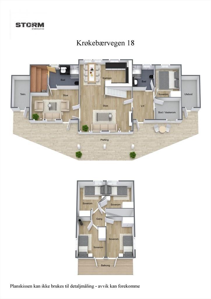 3D planillustrasjon av hytten.
