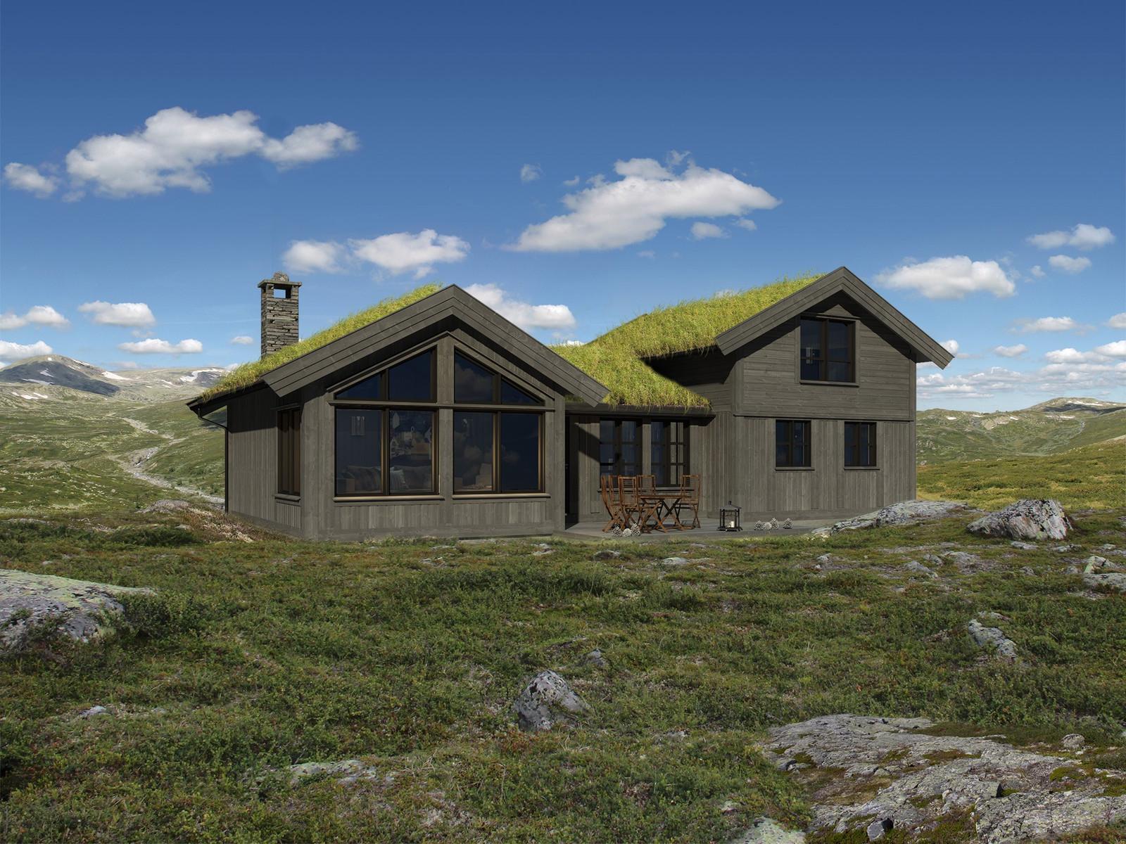Høgtind illustrasjon. Vakker hytte i vakkert landskap