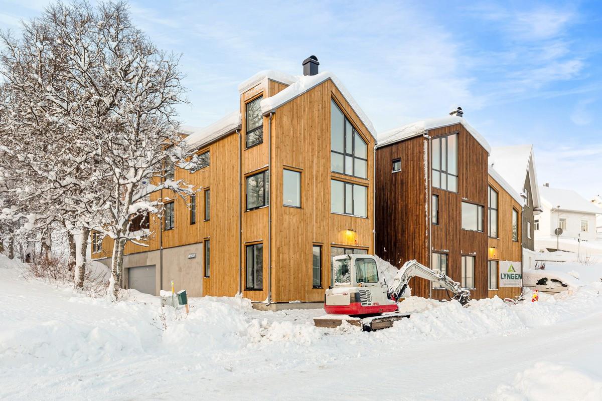 """""""Klyngentunet"""" består av fire boliger. Nærmest i bildet ser du den her omtalte bolig"""