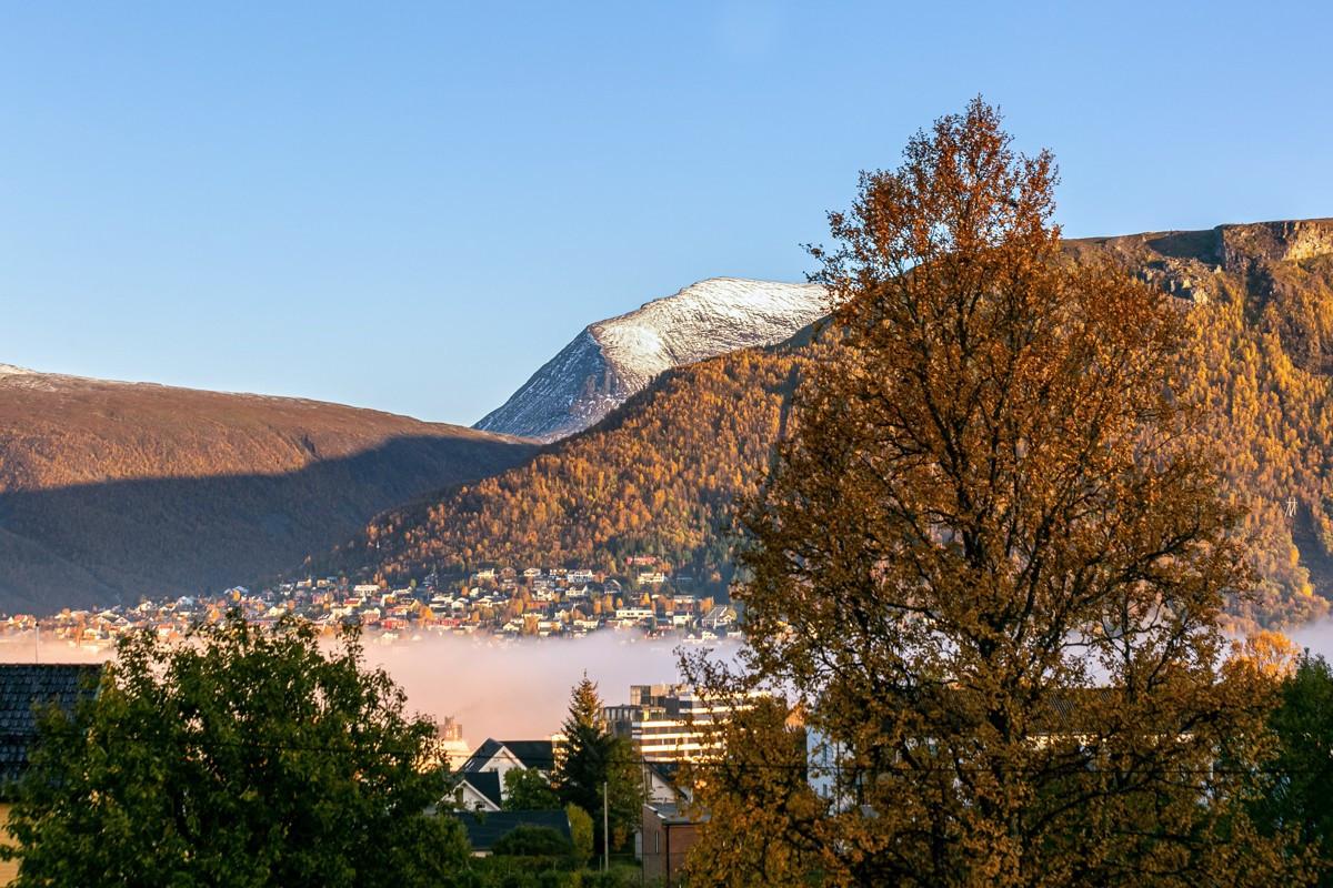 Flott utsikt mot Tromsdalstinden, fjellheisen og fastland generelt