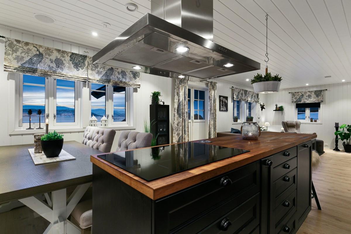 Praktisk kjøkkenøy med integrert koketopp og takhengt ventilator, samt integrert høyttaler i tak