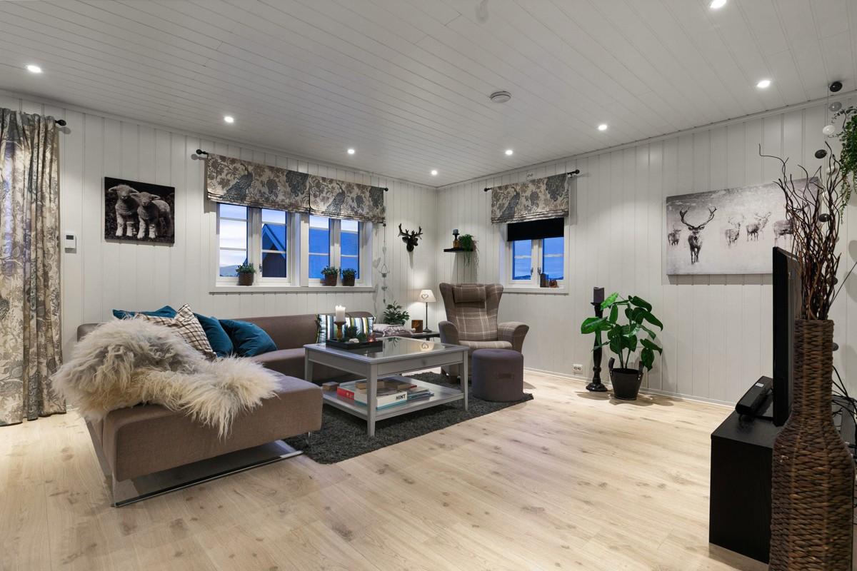 Lun og åpen stue med vannbåren varme i gulv
