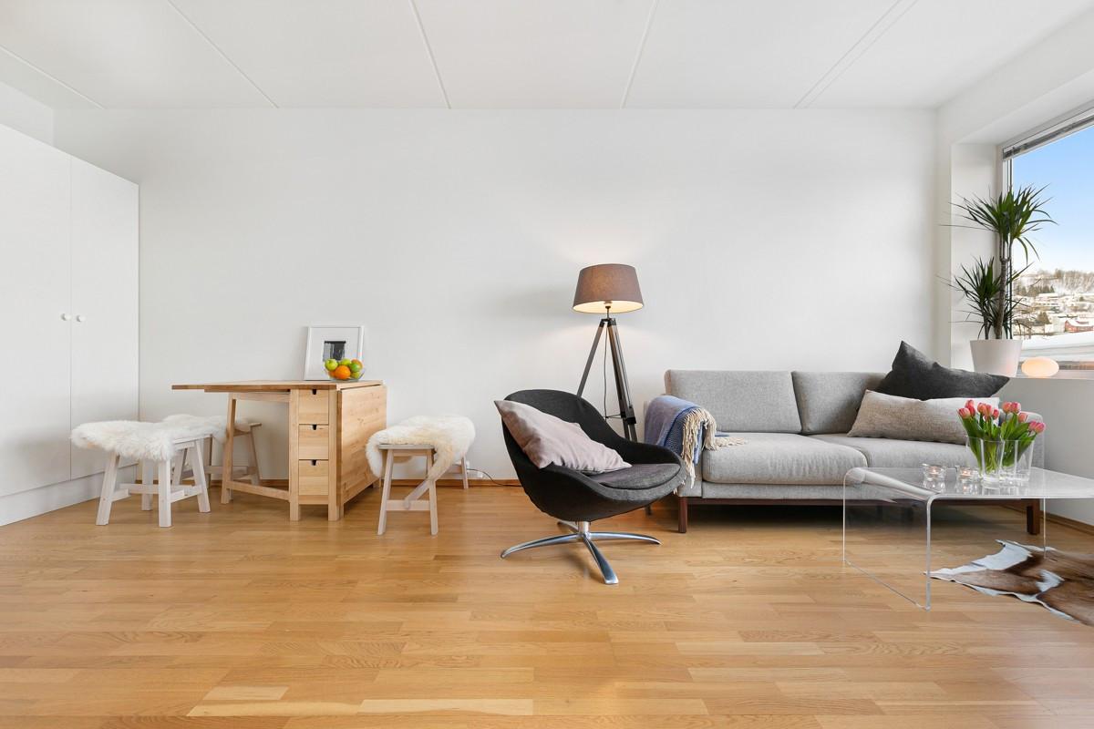 Gos størrelse på stuen som gir mulighet for både sittegruppe, samt frokostplass