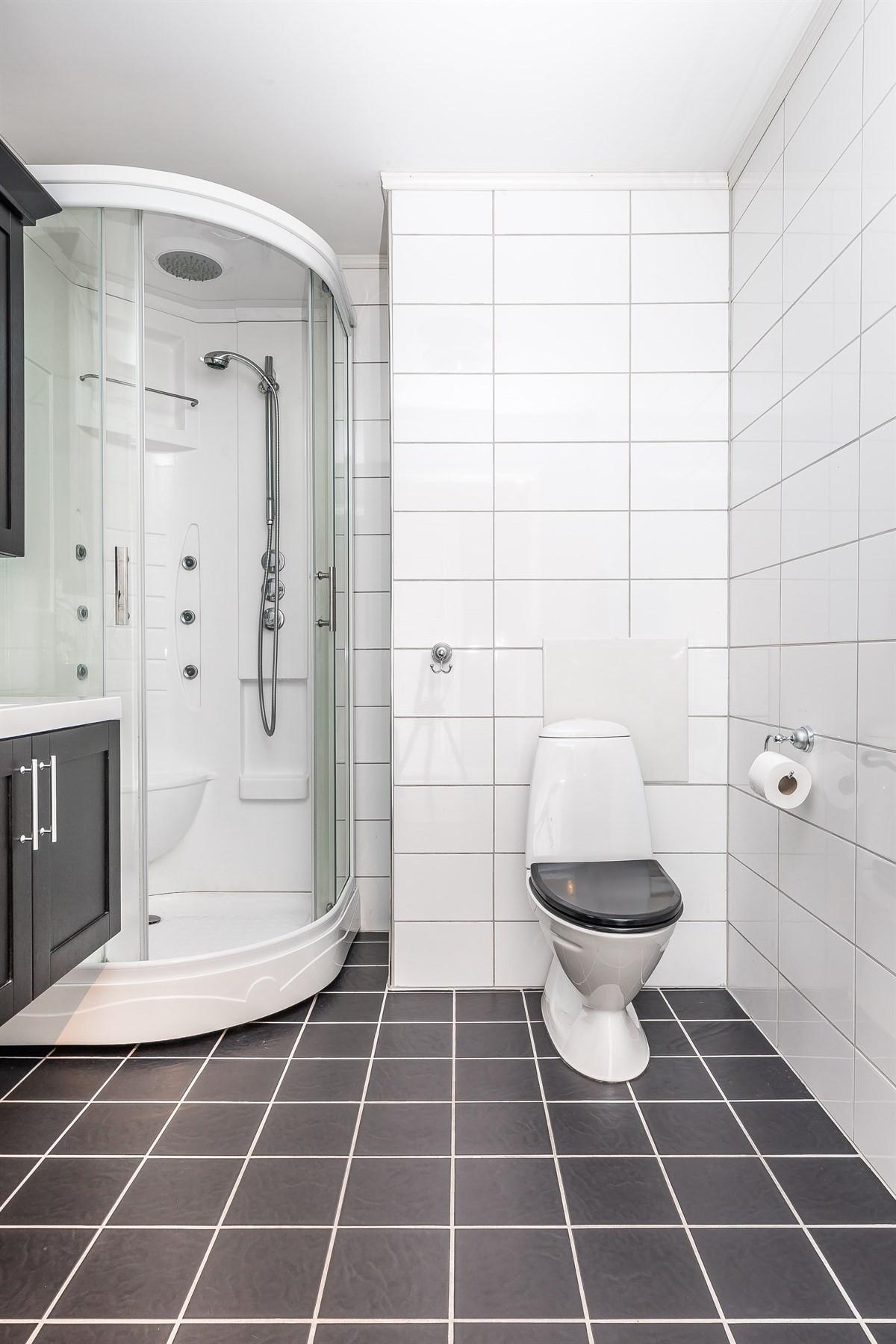Badet inneholder wc, dusjkabinett og servant med speil