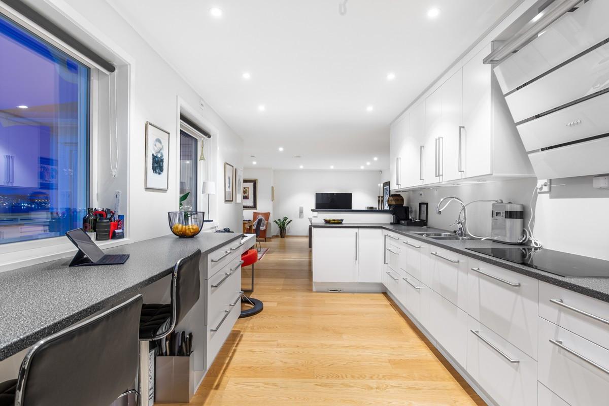 Moderne kjøkken med intergrerte hvitevarer