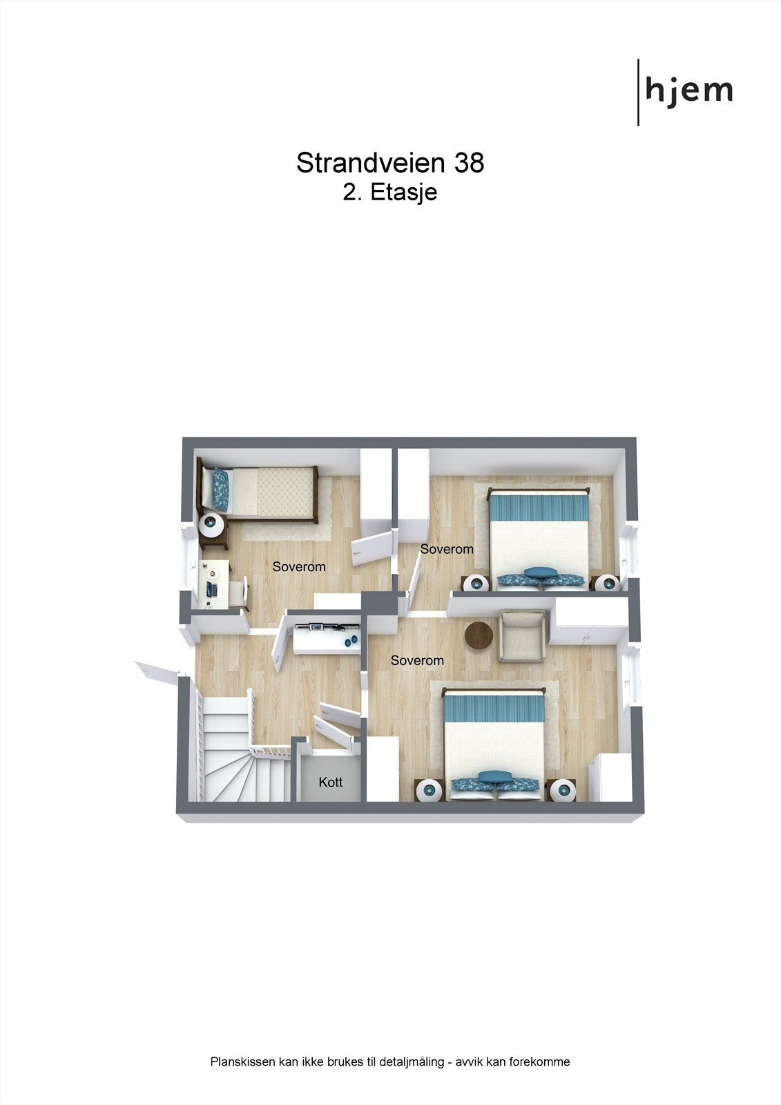 3D planillustrasjon 2. etasje.