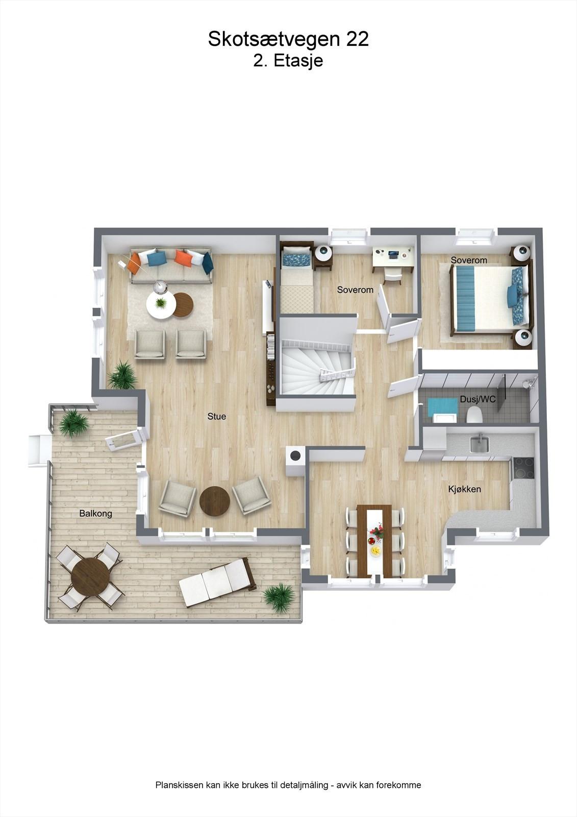 3D planillustrasjon bolig 2.etg