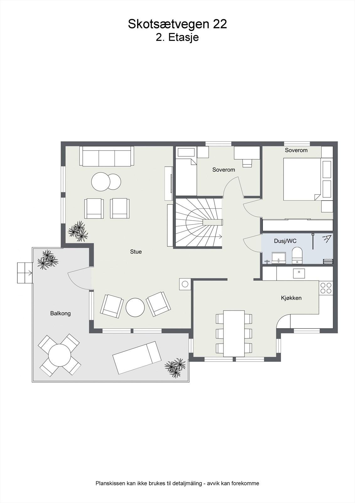 2D planillustrasjon bolig 2.etg