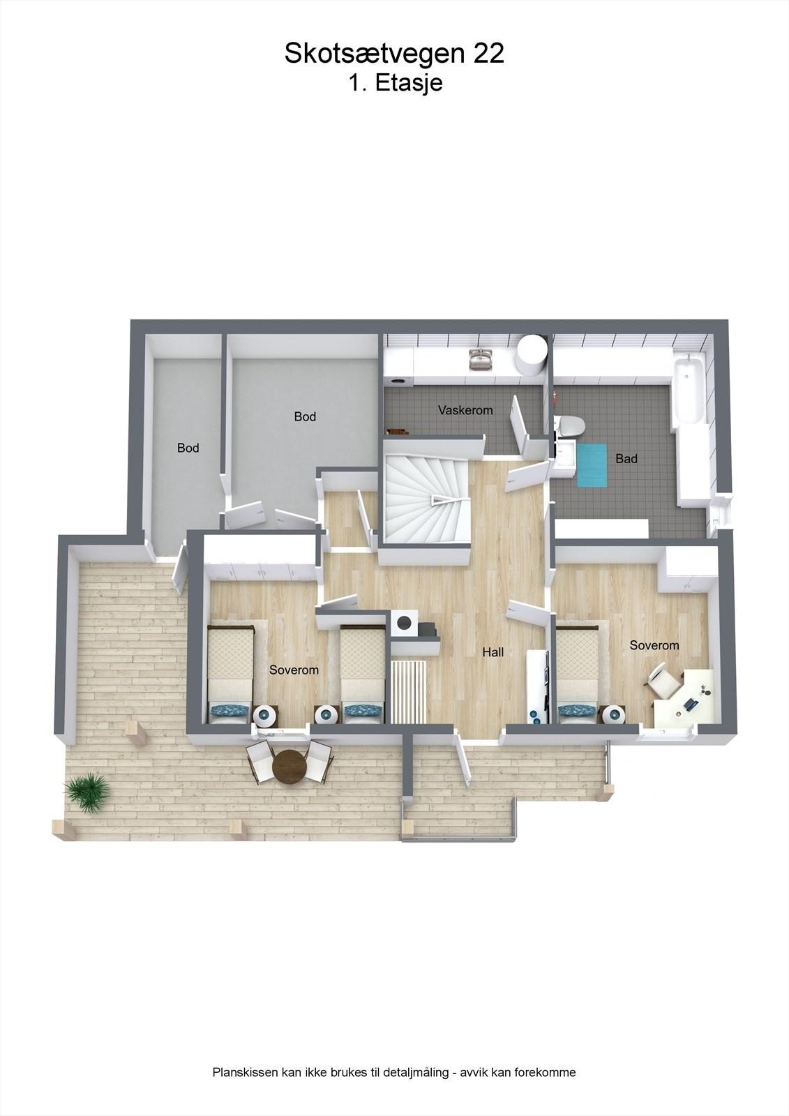 3D planillustrasjon bolig 1.etg