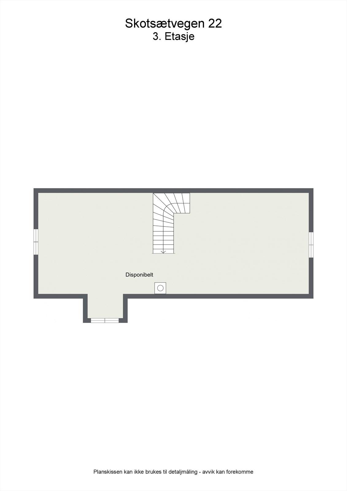 2D planillustrasjon bolig loft, uinnredet