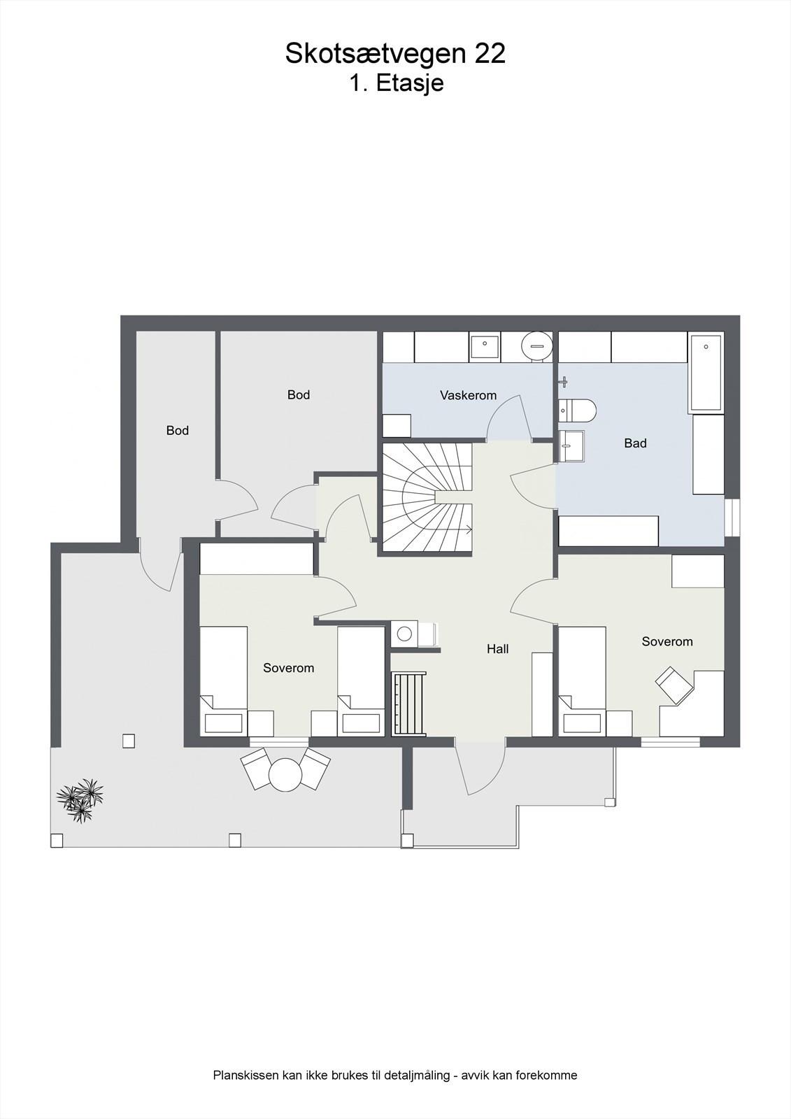 2D planillustrasjon bolig 1.etg