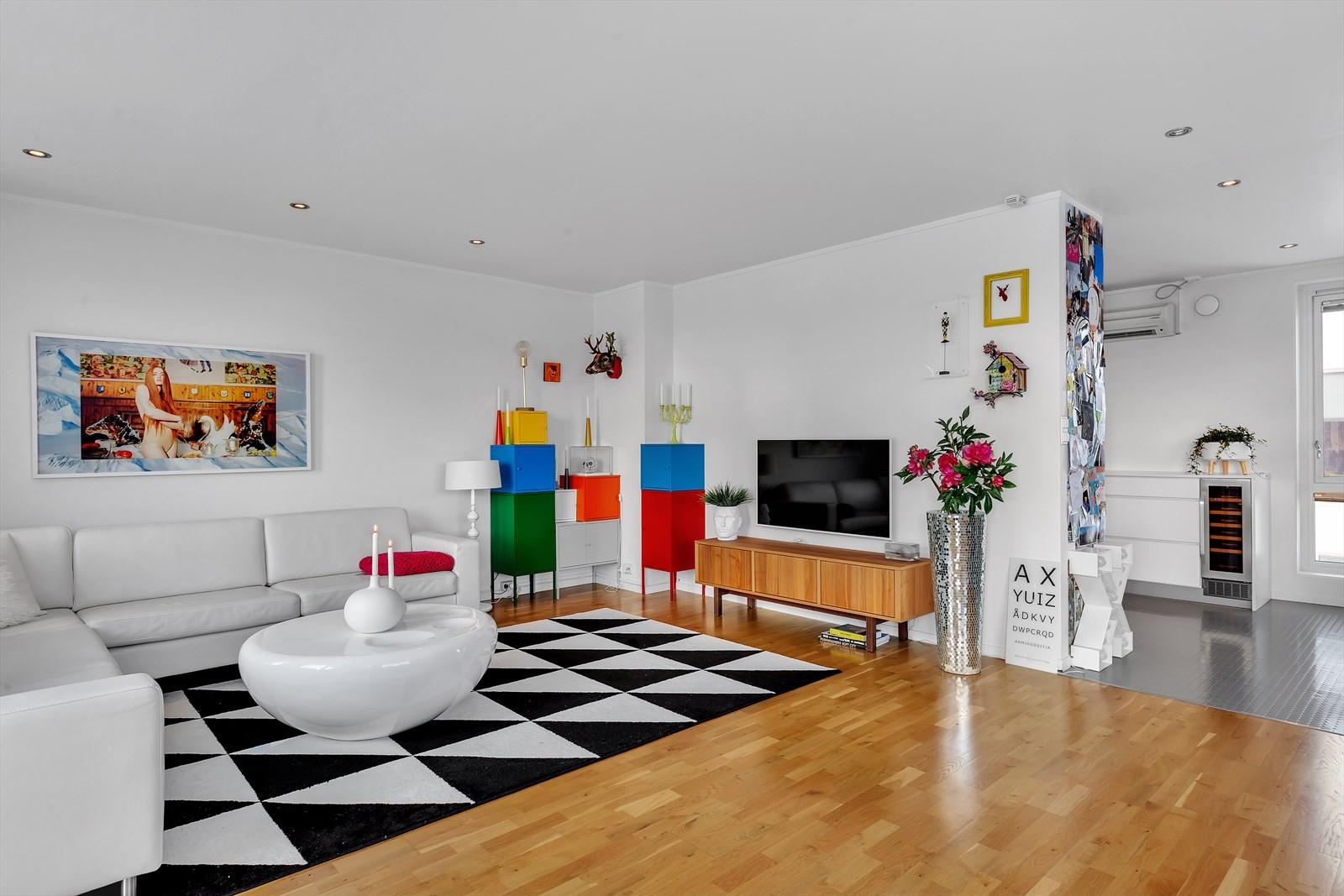 Stue og kjøkken i åpen løsning med delevegg