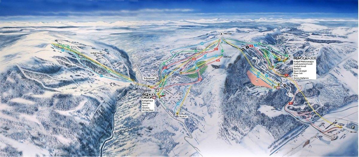 Oversikt Alpin Kvitfjell.