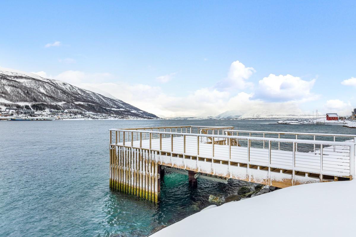 Her kan man nyte innseilingen av hurtigruten til Tromsø havn