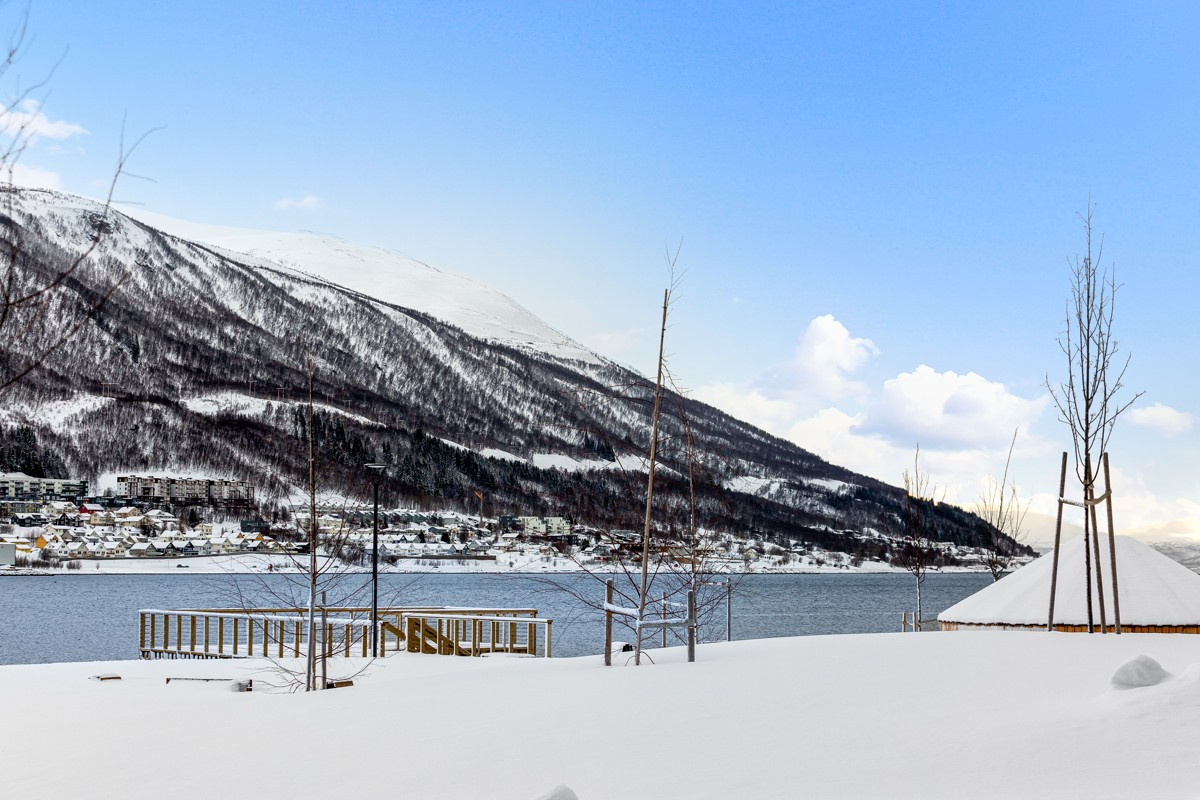Sjøpark med gapahuk, fiskebrygge og kanoplass rett utenfor, samt planlagt badestrand