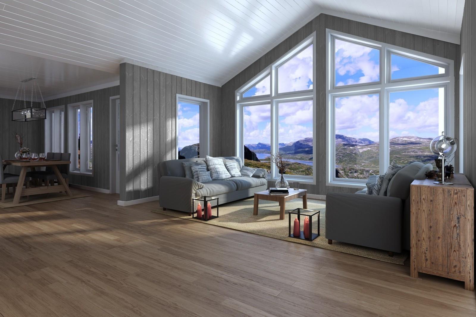Illustrasjon som viser stuen og utsikten du får i denne fantastiske hytten! Med de flotte utsikt tomtene på Hattevarden, så blir dette en perfekt kombinasjon .