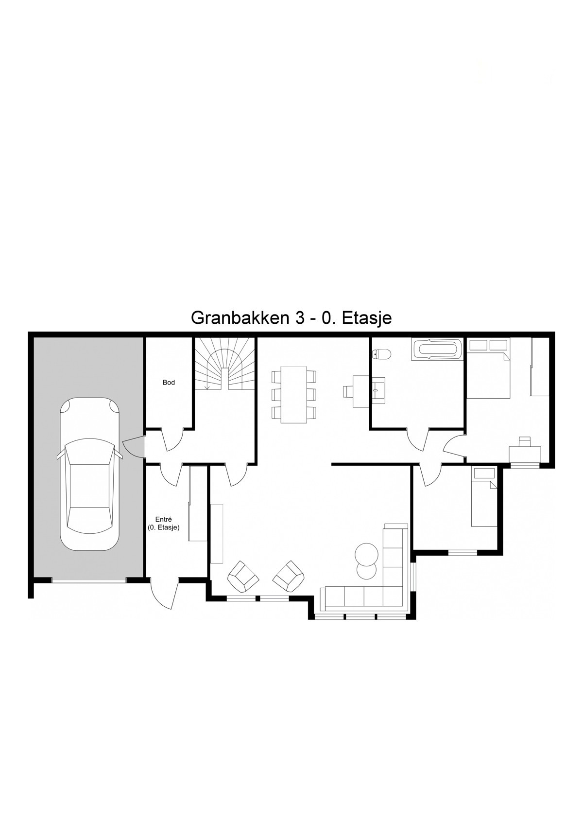 Planskisse 1. etasje - Det kan enkelt etableres 3-roms leilighet i underetasjen