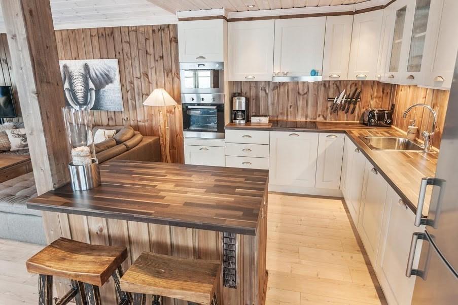 Bilde av tilsvarende hytte med kundetilpasninger og tilvalg